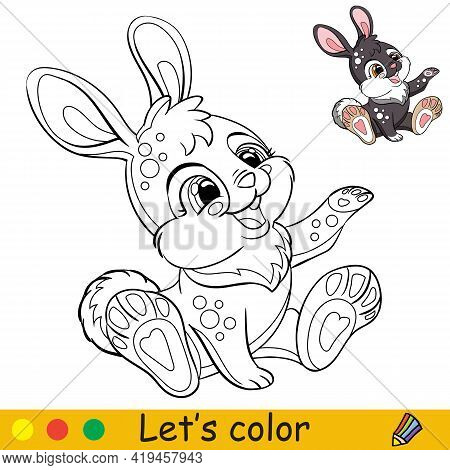 Cute Sitting Rabbit. Cartoon Character Rabbit. Coloring Book Page With Colorful Template. Vector Con