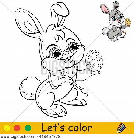 Rabbit Colors An Easter Egg. Cartoon Character Rabbit. Coloring Book Page With Colorful Template. Ve