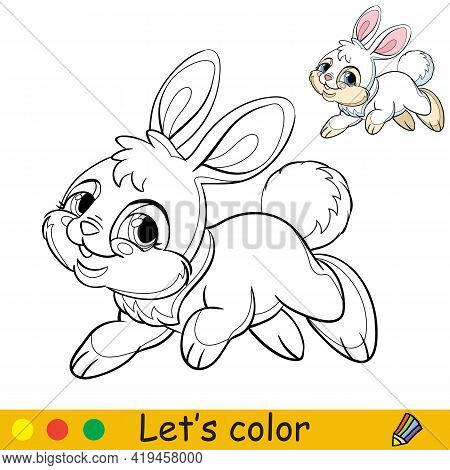 Cute Jumping Rabbit. Cartoon Character Rabbit. Coloring Book Page With Colorful Template. Vector Con