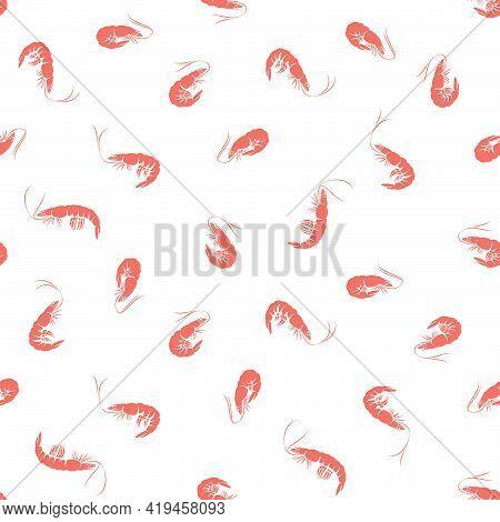 Vector Seamless Pattern Of Shrimp On White Background