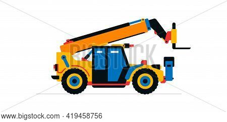 Construction Machinery, Telehandler. Commercial Vehicles For Work On The Construction Site. Vector I