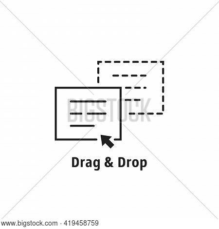 Minimal Thin Line Drag Drop Icon. Flat Stroke Style Trend Modern Simple Logotype Graphic Art Design