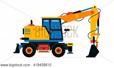 Construction Machinery, Excavator. Commercial Vehicles For Work On The Construction Site. Vector Ill