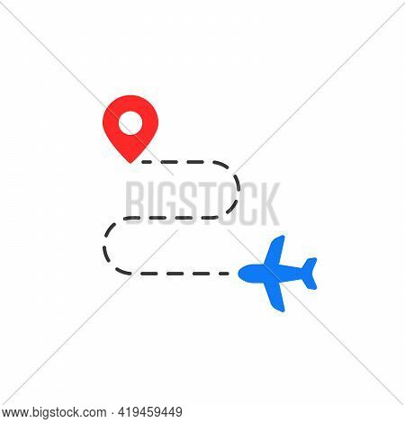 Route Like Travel Destination Simple Icon. Concept Of One Way Ticket Trip And Departure Or Arrival S