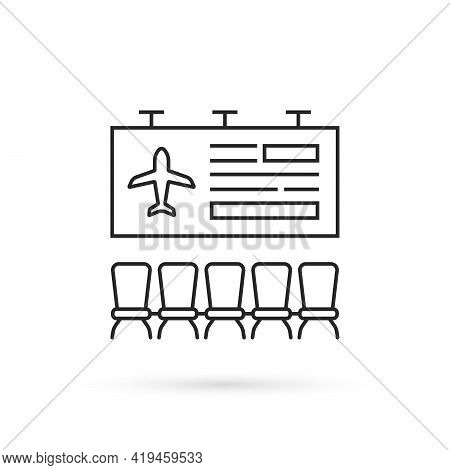 Simple Thin Line Airport Lounge Icon. Minimal Lineart Modern Logo Graphic Stroke Art Design Isolated