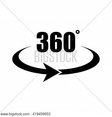 360 Degree Icon. Angle 360 Degrees. Vector Icon Design. Round Logo. Cycle Arrow Sign Symbol. Vision