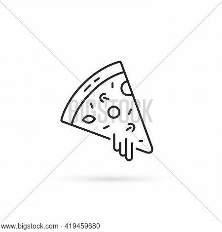 Pizza Slice Like Thin Line Icon. Flat Stroke Trend Modern Simple Logotype Graphic Art Minimal Black