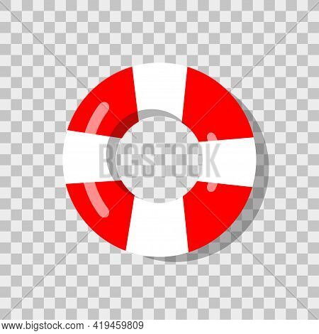 Lifebuoy In 3d Style On Blue Background. Lifebuoy Icon. Life Buoy. Rescue Ring. Safety Ring. Gray Ba