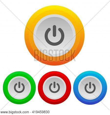 Power Button Icon. Realistic Set Of Power Buttons On White Background. Start Icon. Power Switch Icon
