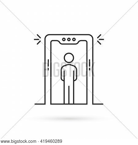 Thin Line Airport Security Scanner Icon. Flat Lineart Style Trend Modern X-ray Machine Logotype Grap