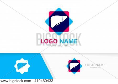 Human Liver Logo For Gastrointestinal Clinic. Liver And Patient Help Logotype Design Template.