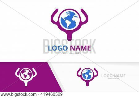 Vector Bladder And Earth Logo Combination. Urinary Tract Logotype Design Template.