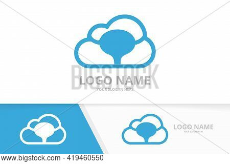 Vector Bladder And Cloud Logo Combination. Urinary Tract Logotype Design Template.