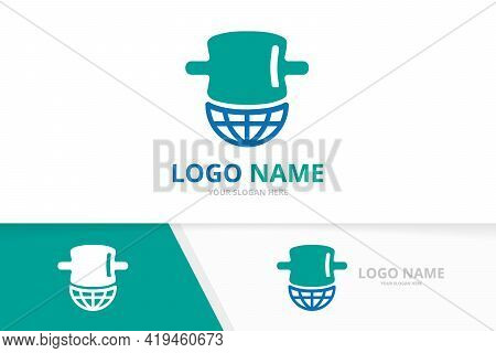 Vector Spine And Earth Logo Combination. Vertebral Column And World Logotype Design Template.