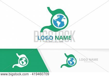 Vector Stomach And Earth Logo Combination. Unique Gastrointestinal Tract And Globe Logotype Design T