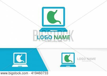 Vector Stomach And Notebook Logo Combination. Unique Gastrointestinal Tract And Laptop Logotype Desi