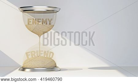 Concept Hourglass With Text Enemy And Friend. 3d Rendering