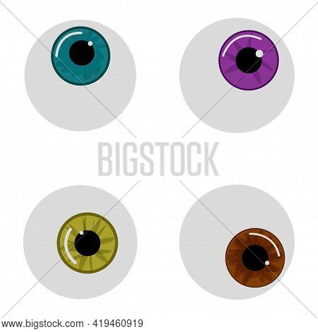 Vector Eyeballs For Halloween With White Background. The Iris Of The Eye Turquoise, Yellow, Purple A