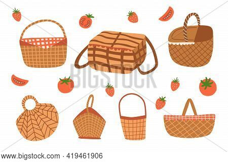 Picnic Baskets Set Isolated Graphic Elements. Picnic Baskets Doodle Icon Collection. Outdoor Picnic.