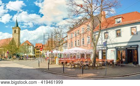 ERFURT, GERMANY - MAY 20, 2016 : Town square with street cafes