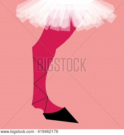 Illustration Of The Leg Of A Horse Dressed In A Skirt Tutu Showing The Lack Of Elegance, Isolated On