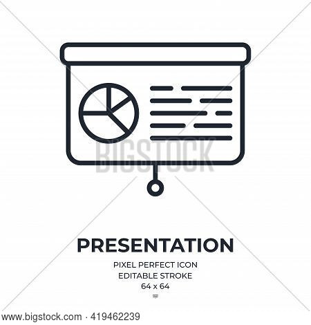 Presentation Editable Stroke Outline Icon Isolated On White Background Flat Vector Illustration. Pix