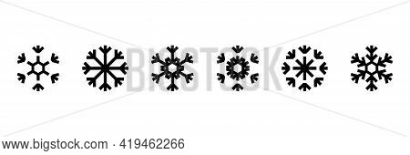 Set Of Snowflakes. Snowflakes Set In Beautiful Style. Snowflakes Set. Vector Design. Line Art Snowfl