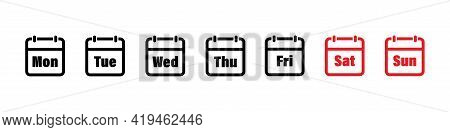 Days Of Week. Calendar Icon Set. Day And Month Calendar. Calndar Icon Set. Date Icon. Schedule, Vect
