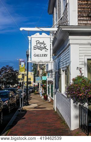 ROCKPORT, MASSACHUSETTS, USA - AUGUST 08, 2014:  A view of Rockport street and artists gallery