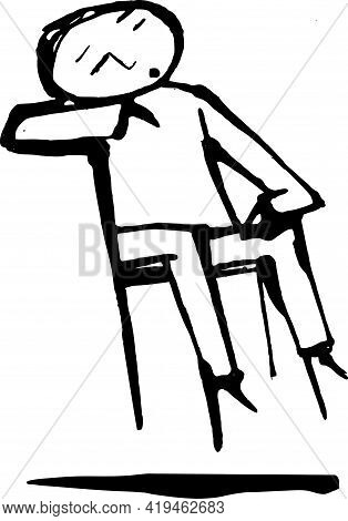 Sleeping Child Sitting In Suspension Chair. Vector Ilustration