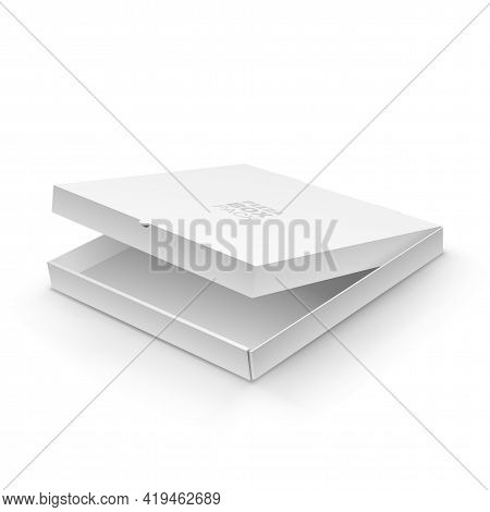 White Blank Ajar Pizza Box Template Realistic Design. Cardboard Packing Box With Opened Cover For Yo