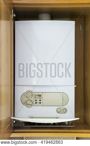 A Natural Gas Fueled Condensing Boiler For A Home Central Heating And Instant Hot Water System Is Fi