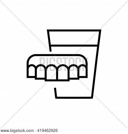 Denture Icon. Dentistry On White Background. Editable Stroke.