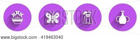 Set Flower In Vase, Butterfly, Plant On Stand And Vase Icon With Long Shadow. Vector