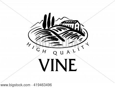 Vector Logo Drawn By Hand. Landscape Of Vineyards For Making Wine