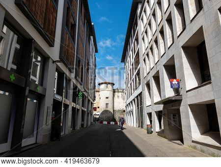 BAYONNE, FRANCE - CIRCA APRIL 2021: The Old Castle of Bayonne as seen from Aristides de Sousa Mendes street.