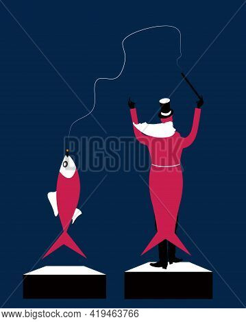 Illustration Of A Conductor Directing And Getting Connected With A Fish, Both Having The Same Tail