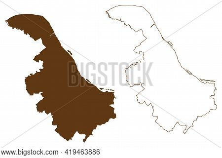 Stade District (federal Republic Of Germany, Rural District, State Of Lower Saxony) Map Vector Illus