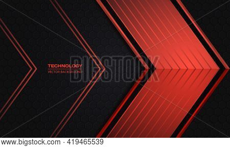 Red Arrows On A Dark Hexagonal Grid Abstract Technology Background. Luxury Overlap Direction Design.