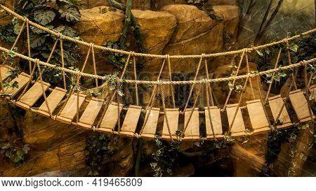 Suspension Bridge In The Jungle. Adventure Wooden Rope Suspension Bridge In Jungle Rainforest
