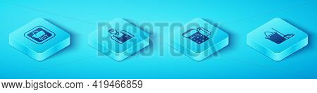 Set Isometric Buy Button, Seller, Mop And Bucket And Pos Terminal With Credit Card Icon. Vector