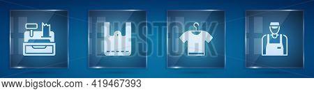 Set Cash Register Machine, Paper Shopping Bag, T-shirt And Seller. Square Glass Panels. Vector