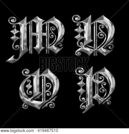 3D rendering of old Gothic metal capital letter alphabet - letters M-P