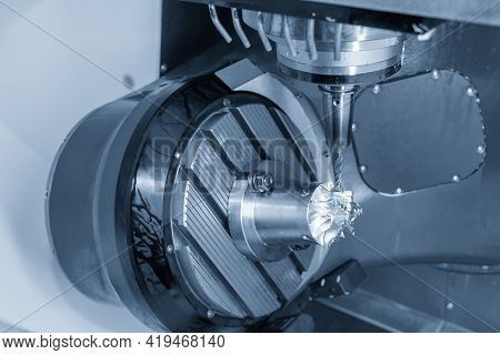 The  5-axis Machining Center Cutting The Turbocharger Blade With Solid Ball End Mill Tool. The Autom