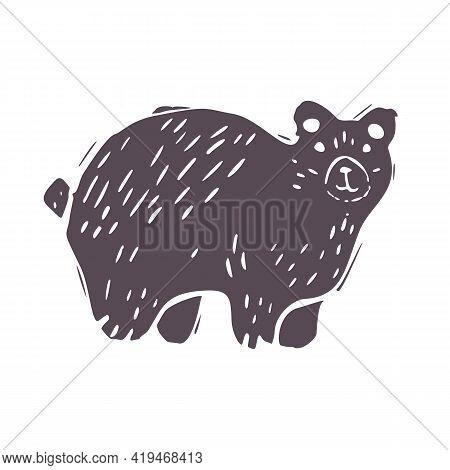 Hand Carved Bold Block Print Bear Icon Clip Art. Folk Illustration Design Element. Modern Boho Decor