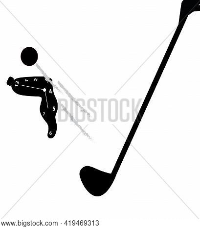 Illustration Of A Melted Clock Hit By A Golf Ball, Isolated On White Background