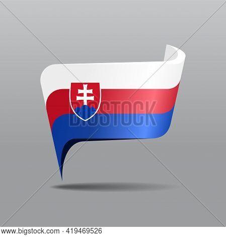 Slovak Flag Map Pointer Layout. Vector Illustration.
