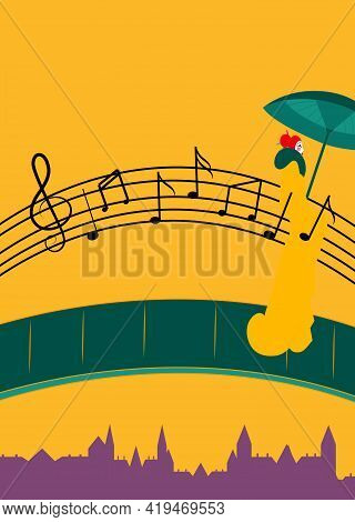 Illustration Of A Bridge Made From Musical Notes And A Woman Crossing The Bridge With An Umbrella
