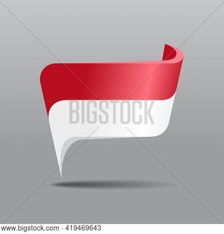 Indonesian Flag Map Pointer Layout. Vector Illustration.