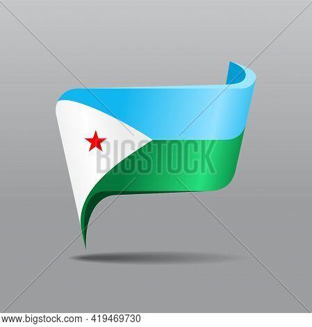 Djibouti Flag Map Pointer Layout. Vector Illustration.